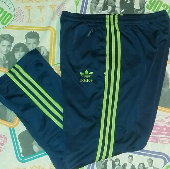 Absorbente tornillo tornillo  adidas Pants | 7s Adidas Trefoil Blue Green Track Pants 3 Stripe | Poshmark
